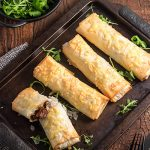 Steak and cheese pies are the ultimate comfort food. These steak and cheese filo parcels are a lighter version, using filo pastry instead of regular pastry and served with a big garden salad.