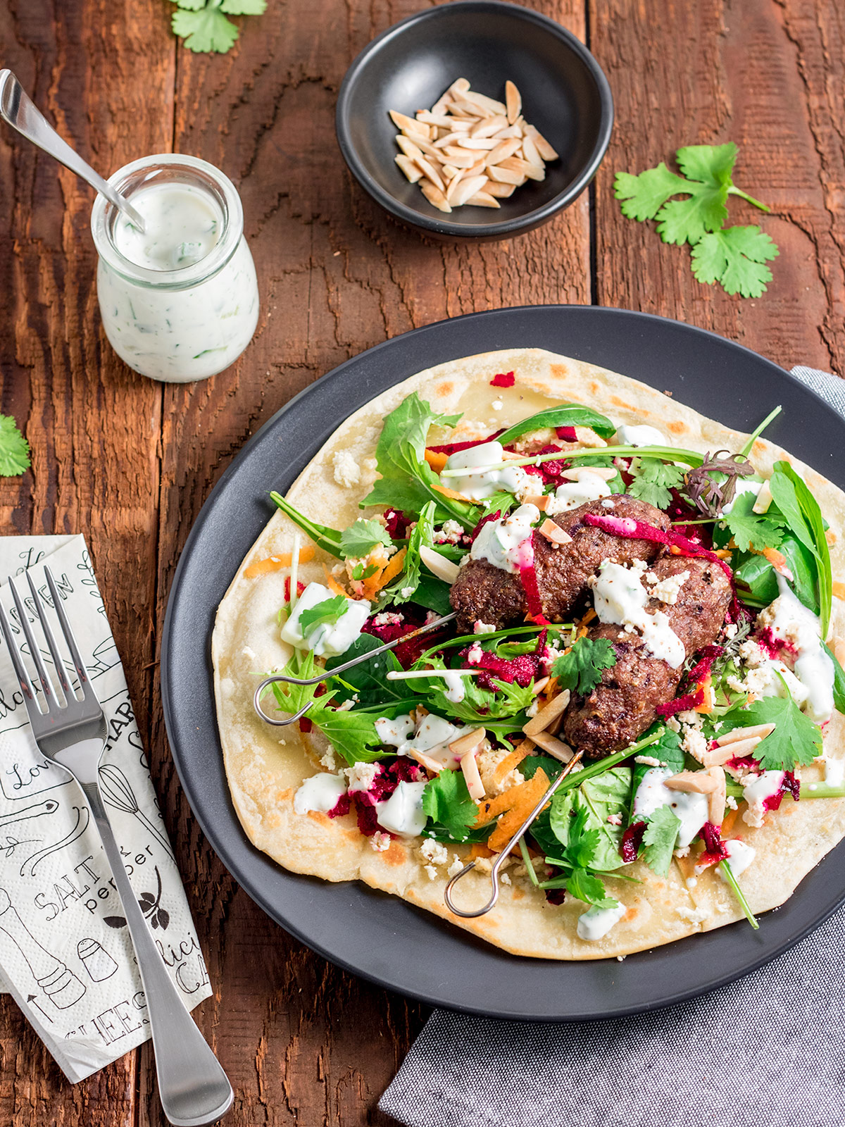 These lamb kofta flatbreads are way tastier than any takeaway kebab. The extra effort required to make the flatbreads yourself is definitely worth it!