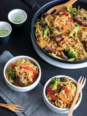 This sausage stir fry is the perfect weeknight dinner. 