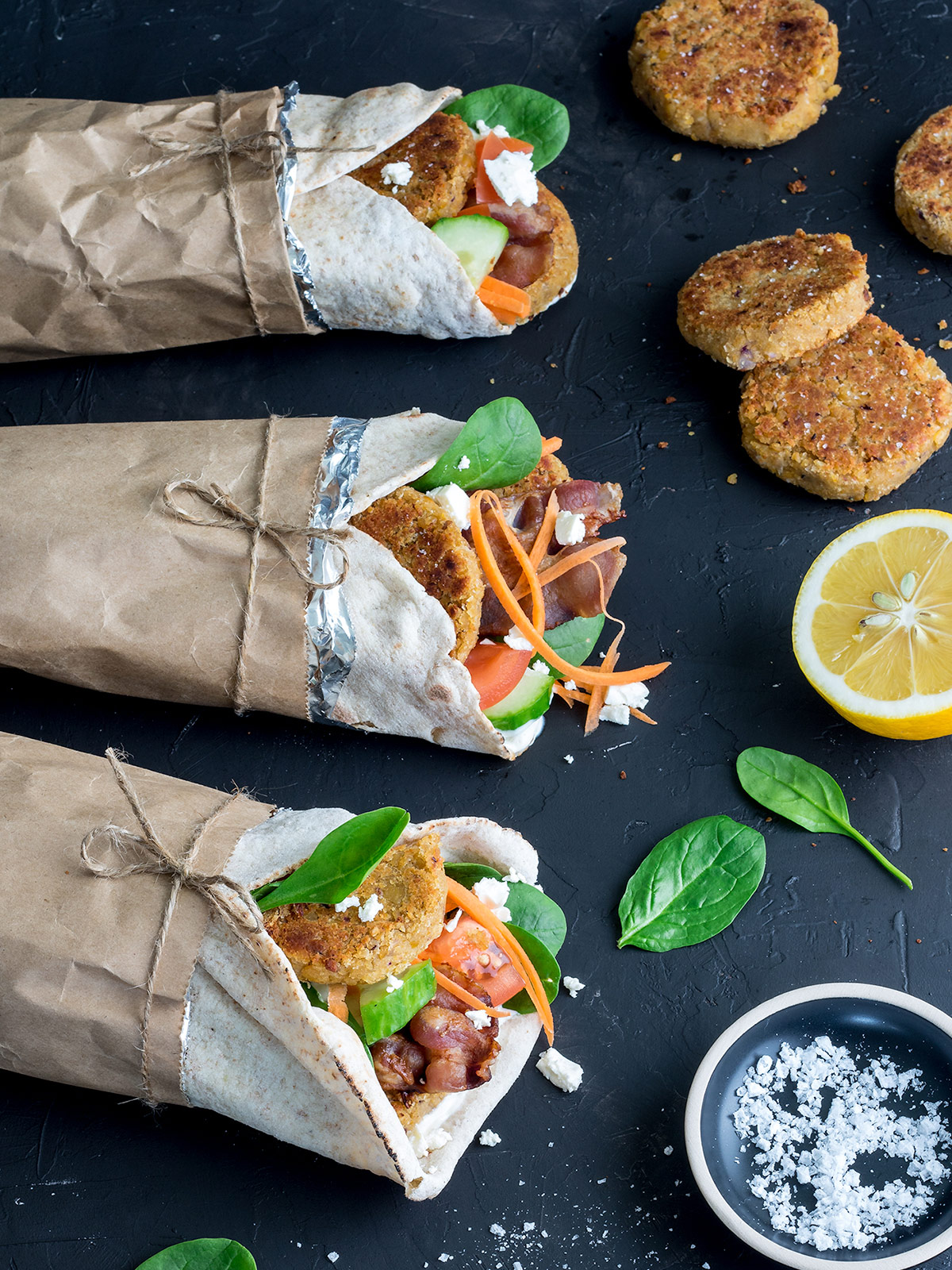 Homemade falafel kebabs are an easy, quick dinner. Make them as a vegetarian meal or up the delicious factor with the addition of bacon!