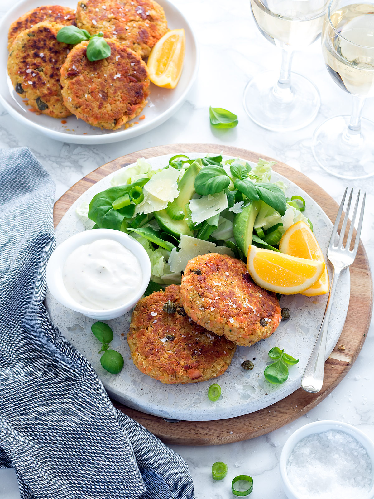 These flavoursome salmon cakes use chickpeas instead of mashed potato, making patties that are 