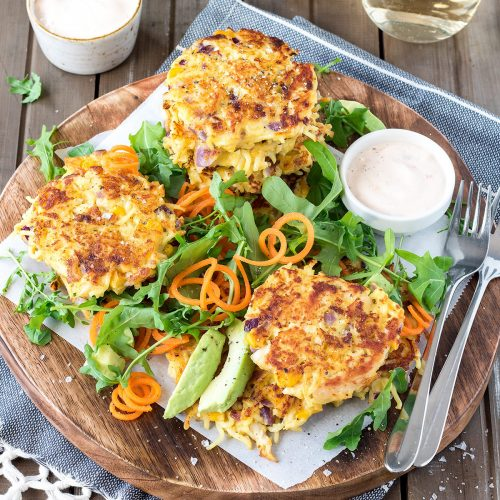 These chicken noodle fritters are sure to go down well with the whole family. TIP: Make them quicker by getting two frying pans on the go at once!