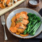 Tender chicken stuffed with sundried tomato pesto and cheese, layered with kumara and spinach. This chicken and kumara bake is so easy to put together, and you'll have plenty of time to do other things while it cooks.