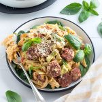 The works fettuccine - an easy pasta that's a loaded-up version of fettuccine carbonara. It's a complete one-bowl meal packed full of delicious ingredients.