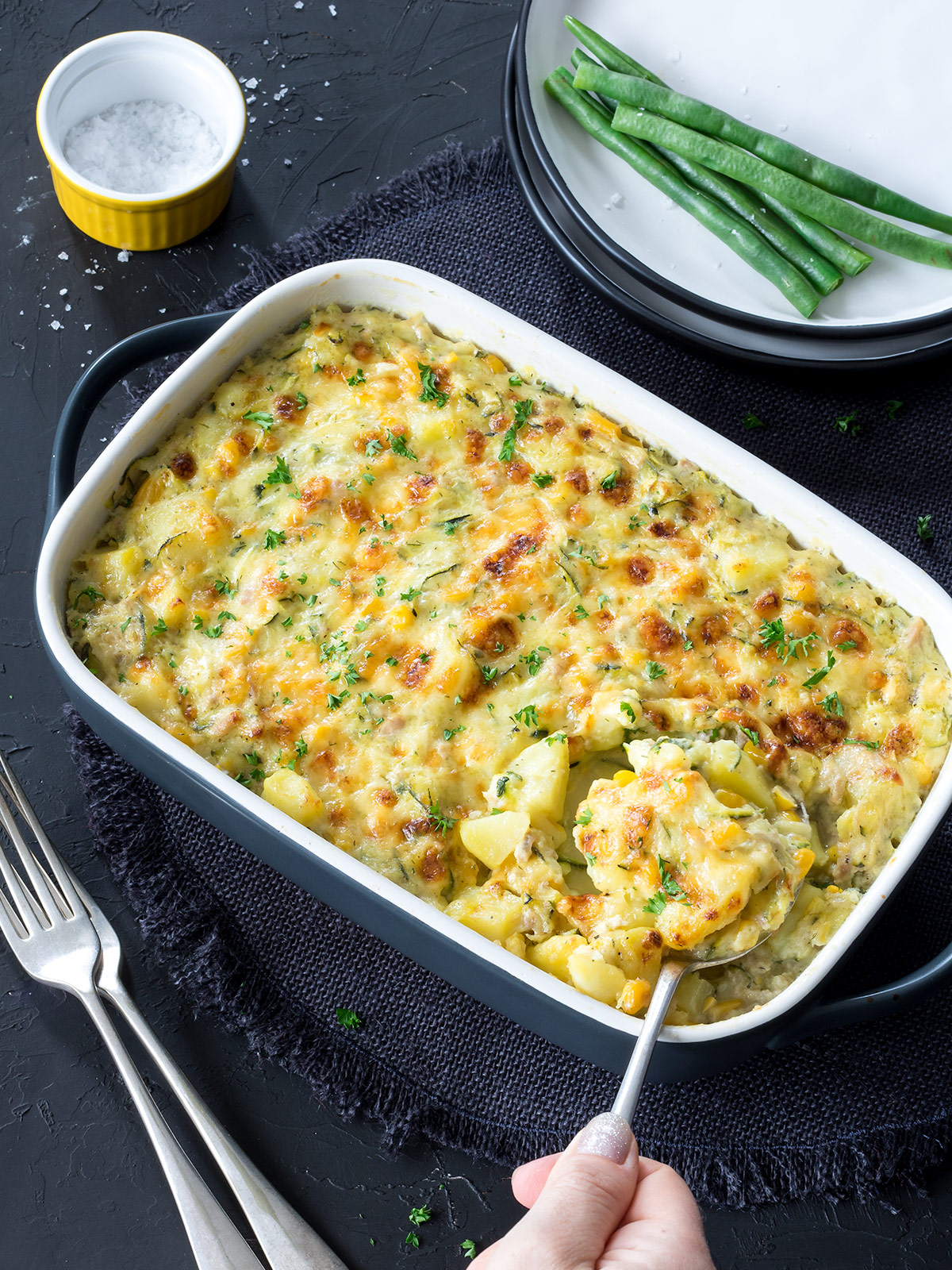 This easy tuna potato bake comes together a lot quicker than regular potato bakes. No need to cook in the oven for ages!
