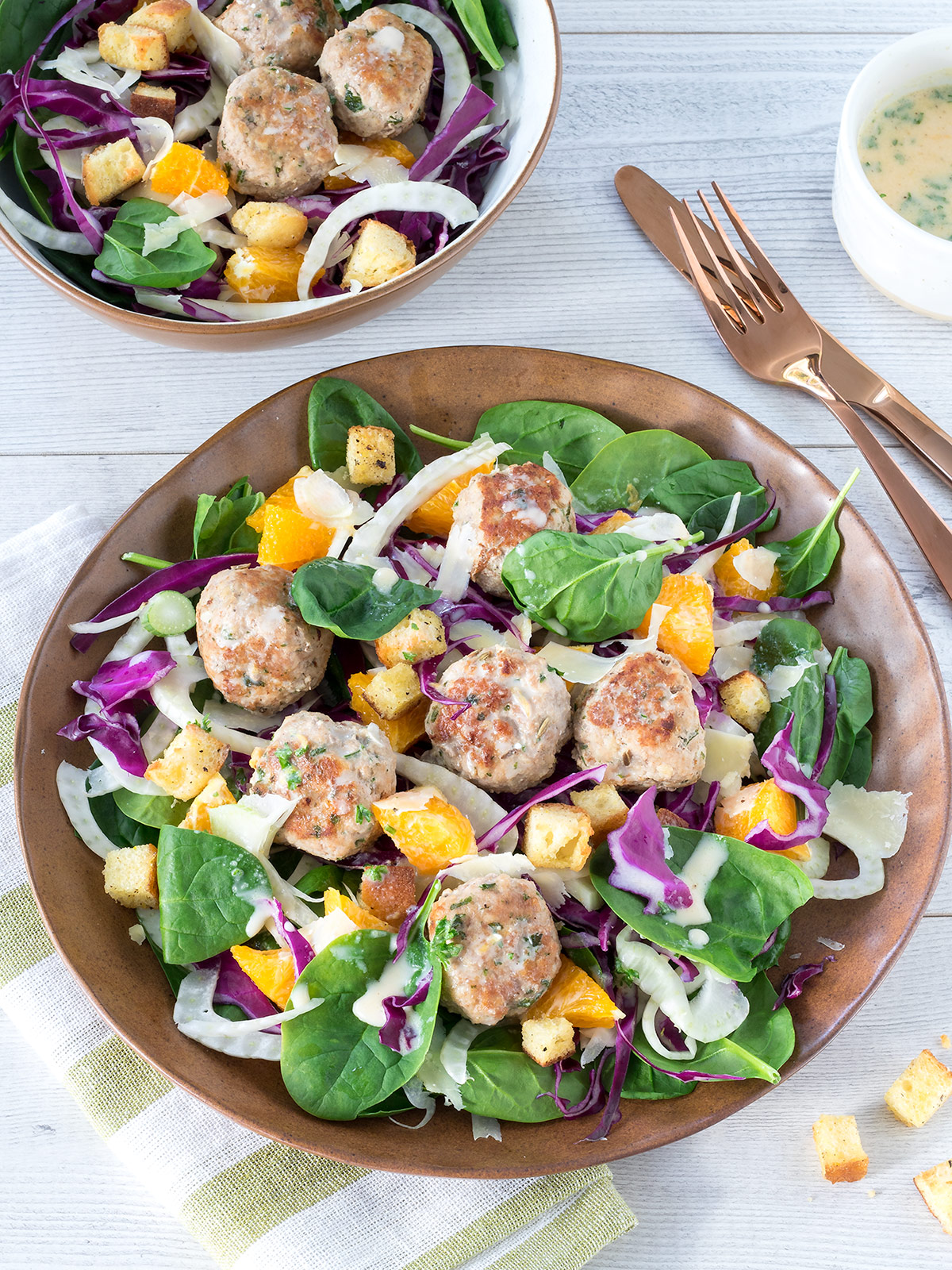 These pork and fennel meatball salads are packed with a delicious combination of flavours. An interesting and satisfying lower carb meal.