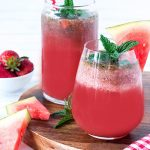 For a refreshing summer drink, you can't go past this watermelon and strawberry cooler. Bonus: you get to consume one of your daily fruit servings at the same time!