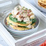 These savoury chicken and bacon pancake stacks are a less fiddly alternative to baked chicken and bacon crepes. A perfect dinner option for Shrove Tuesday (Pancake Day).