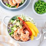 Poke bowls are such a versatile, easy meal. Load them up with all your favourite ingredients! These prawn poke bowls feature mango and avocado, as well as a refreshing sesame dressing.