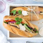 These delicious Vietnamese chicken banh mi rolls are an easy dinner or lunch. The pickled vegetables, paté and sweet chilli aioli provide a great mix of flavours.