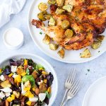 An easier version of a full roast meal. This Mediterranean roast chicken uses butterflied chicken for quicker cooking, and is served with roast kumara mixed into a tasty salad.