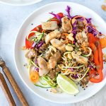 This Thai chicken salad is colourful and packed with flavour, thanks to a very moreish peanut dressing. Enjoy hot or cold, and be ready to go back for seconds!