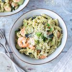 Bowl of prawn pasta.