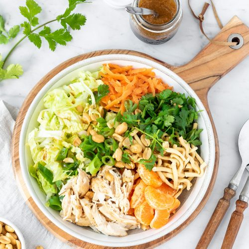 Bowl of Chinese chicken salad ready to be served.