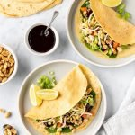 Vietnamese chicken crepes with veggies, peanuts and hoisin sauce.