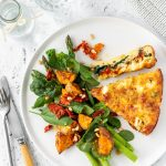 Mediterranean crustless quiche with spinach, asparagus and sundried tomato salad.