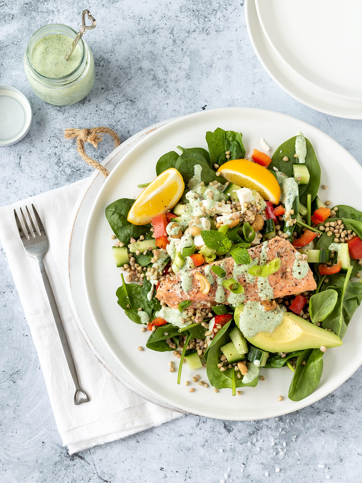 Salmon and buckwheat salad with green goddess dressing.