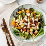 Chicken and chorizo salad with roast veggies, avocado, feta and a honey mustard dressing.