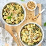 Creamy broccoli gnocchi with pine nuts, parmesan and basil.