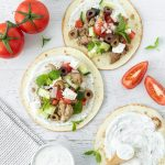 Greek chicken tacos with yoghurt sauce.