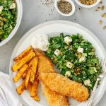 Oven baked fish and chips with super greens salad.