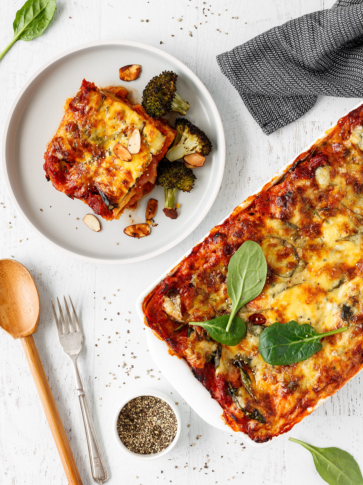 Easy vegetarian lasagne with roasted broccoli.