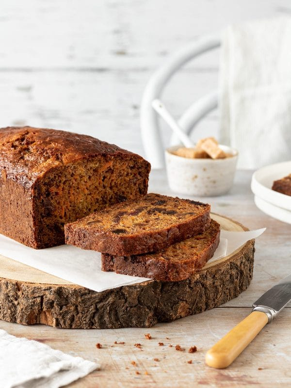 Carrot and banana loaf, sliced.