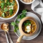 Eggplant curry with chickpeas, cashews, Greek yoghurt and coriander, on brown rice.