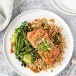 Miso ginger salmon with garlicky greens, brown rice and sesame seeds.
