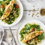 Pan fried fish on Israeli couscous salad with pumpkin seeds.