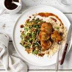 Sticky pork fillet on rice with bok choy slaw.