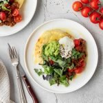 Mexican stuffed potato cakes with beef mince, Greek yoghurt and avocado.