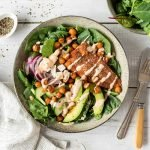 Mediterranean salmon salad with roasted chickpeas and yoghurt dressing.