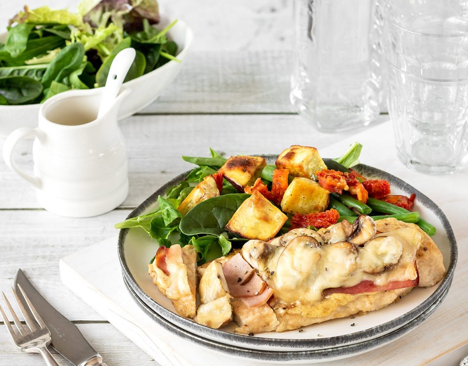 Swiss chicken with ham, mushrooms and cheese, served with a kumara and sundried tomato salad.