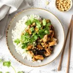 Tamarind chicken on rice with caramelised eggplant, coriander and roasted peanuts.