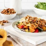 Chicken and pumpkin salad with maple roasted pretzel mix.
