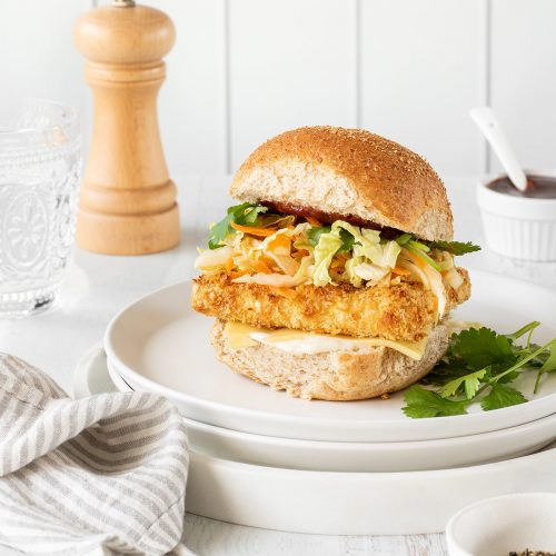 Crispy tofu burgers with cheese, slaw, coriander and tangy homemade sauce.
