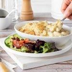 Macaroni cheese with creamy cauliflower and salad.