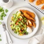 Mexican corn chip chicken salad with sour cream and lime.