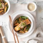 Honey soy fish on soba noodles with baby corn, edamame beans and baby spinach.