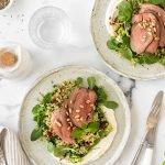 Mediterranean lamb salad with bulghur wheat, sundried tomatoes, mint and feta.